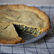 Leek and Greens Tart with Cornmeal Crust