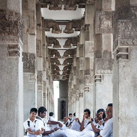 The Students in White by Howard Tai - People Street & Candids ( colombo, students, independence square, architecture, sri lanka )