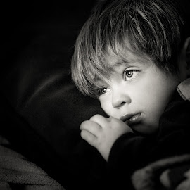 Sleepy Boy by Mike DeMicco - Babies & Children Children Candids ( love, sweet, sleepy, handsome, toddler, light, boy, bedtime, black&white )