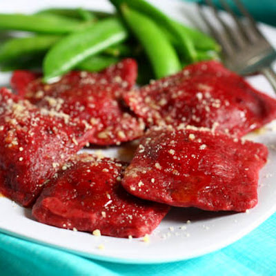 Three Cheese Beet Ravioli