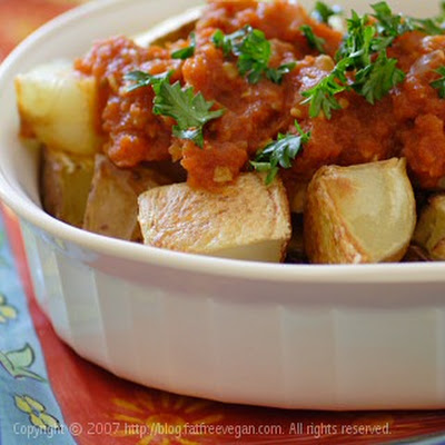 Patatas Bravas (Crisp Spanish Potatoes with Spicy Tomato Sauce)