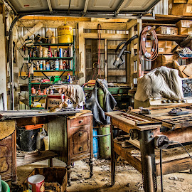 My Husband's Garage by Becky Kempf - Digital Art Places ( tools, hdr, garage, junk )