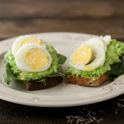 Ricotta, Smashed Pea, and Hard Boiled Egg Toast