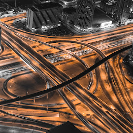 The Vein  by Wissam Chehade - City,  Street & Park  Street Scenes ( intersection, szr, mydubai, dubai, uae, night, road, bridges, burj khalifa, light, city )