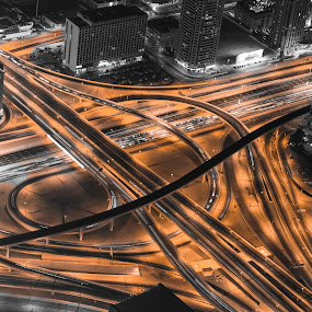 The Vein  by Wissam Chehade - City,  Street & Park  Street Scenes ( intersection, szr, mydubai, dubai, uae, night, road, bridges, burj khalifa, light, city,  )