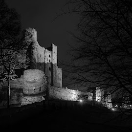 Rochester Castle by Mark Richard Day - Buildings & Architecture Public & Historical ( history, building, lighting, black and white, shadow, kent, trees, night, castle, medway, rochester )