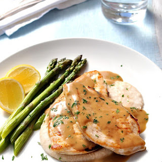 Chicken with Creamy Marsala Sauce, White Bean Puree & Asparagus