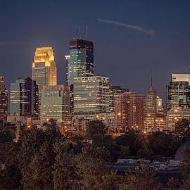 Minneapolis Skyline by Doug Wallick - City,  Street & Park  Skylines ( skyline, minnesota, impound, minneapolis, cloud's, lot, tree's, night, bridge )
