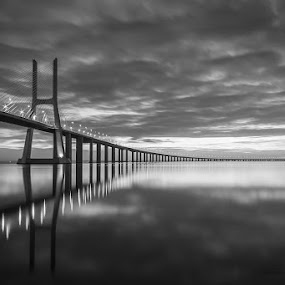 black and white dawn by Emanuel Ribeiro - Buildings & Architecture Bridges & Suspended Structures ( dawn, bridge, river )
