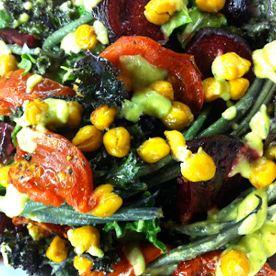 Kale Salad With Roasted Beets, Cumin Roasted Chickpeas, & Avocado Dill Dressing