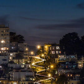 Lombard St by Paoix Paolo - City,  Street & Park  Street Scenes ( twisted, san francisco )