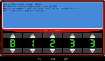 Screenshot of OBDII Trouble Codes