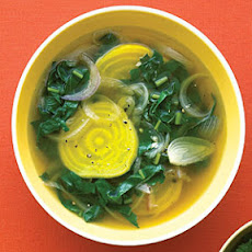 Golden Beet and Beet Greens Soup