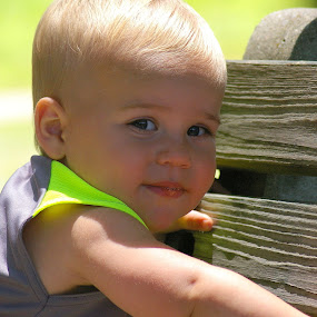 Climbing up on a park bench by Marme Potts - Babies & Children Children Candids