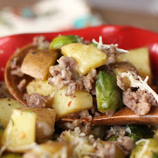 Roasted Potatoes with Brussels Sprouts and Sausage