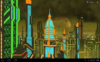 Screenshot of Space City 3D LWP (Gold)