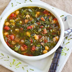 Chard and Chickpea Soup with Sausage and Green Pepper