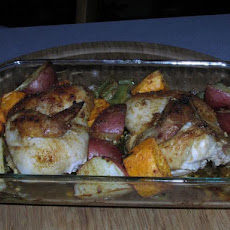 Roast Cornish Game Hens With Vegetables