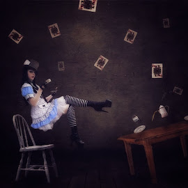 Alice's Tea Time by Chrystal Olivero - Digital Art Abstract ( levitation, fine art photography, conceptual, manipulation, photoshop )