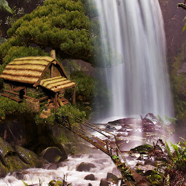 by Svetla Stoimenova - Digital Art Places ( wonderful world, magic, dream, waterfall, house, fantastic )