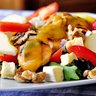 Honey Dijon Chicken Salad with Brie and Walnuts