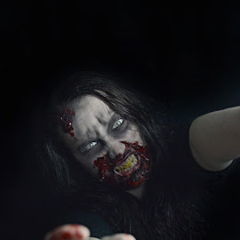 Zombie by Hayley Langan - People Body Art/Tattoos ( scary, zombie, makeup, portrait, halloween )