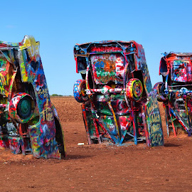 Upside Down by William Cortes - Transportation Automobiles ( graffiti, cars, art, paint, dirt, caddilac )