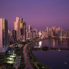 Panama the Beautiful by Alejo Cedeno - City,  Street & Park  Skylines ( reflection, panamacity, colorful, skyscrapers, street, cityscape, landscape, panamabay, city, bluehour, panama, purplesky, sunset, buildings )