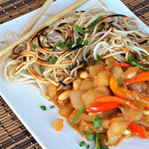 Crispy Chinese Noodles with Eggplant and Peanuts