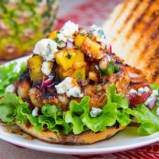 Teriyaki Shrimp Burgers with Grilled Pineapple Salsa, Bacon and Blue Cheese