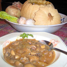 Mushroom Bourguignonne in a Whole Pumpkin