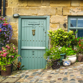 Door with flowers garden in planters by Del Candler - Buildings & Architecture Architectural Detail ( purple, blue green, green, door, planters, north yorkshire, england, robin hoods bay, red, window, stone building, pink, flowers, cobblestone )
