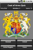 Screenshot of Coat of Arms Quiz