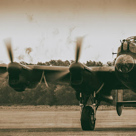 Just Jane Lancaster Bomber by Martin Fuge - Transportation Airplanes ( ww2, lincolnshire, aviation, sepia, transport, lancasterbomber, eastkirkby, aircraft, bomber, transportation, lancaster,  )