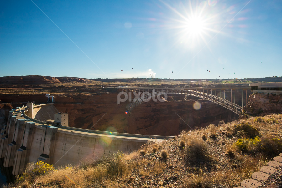 Glen Canyon Dam, Page, Arizona by Photoxor AU - Buildings & Architecture Bridges & Suspended Structures ( hot air baloon, page, glen canyon dam, arizona, bridge, sun, , relax, tranquil, relaxing, tranquility )