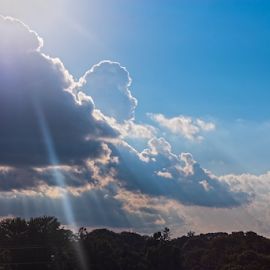 Sun through the Clouds 01 by Julie Berglund - Landscapes Cloud Formations ( clouds, cloudscape, sunshine, sunlight, sun )