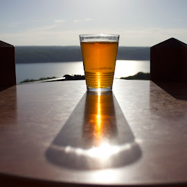 Long Day At The Lake by Dale Kemp - Food & Drink Alcohol & Drinks ( beer, beverage, shadow, sunset, lake )