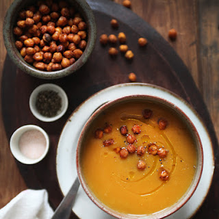 Gold Rush Soup & Chickpea Croutons