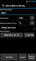 Screenshot of AlcoDroid Alcohol Tracker