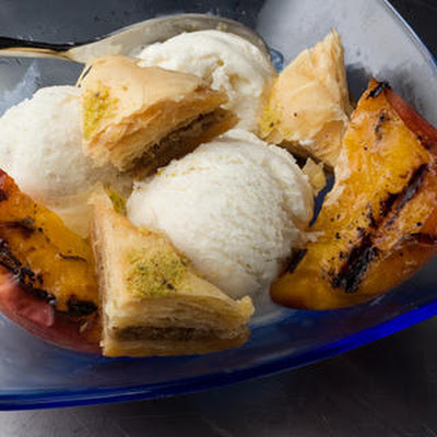 Baklava Sundae with Grilled Peaches