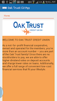 Screenshot of Oak Trust CU App