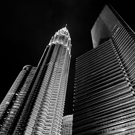 HUGE by 'Younis Mohammed - Buildings & Architecture Public & Historical ( canon, cityscapes, petronas twin towers, klcc, black and white, hd, malaysia, cityscape, 6d, kuala lumpur, nightscape, twin, tower, night photography, nightscapes,  )