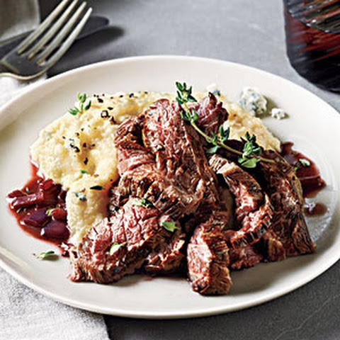 Skirt Steak with Gorgonzola Polenta