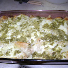 Chicken and Green Chile Enchiladas With Goat Cheese Cream Sauce
