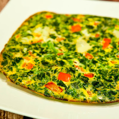 Spinach and Red Pepper Frittata (Gluten Free, Dairy Free)