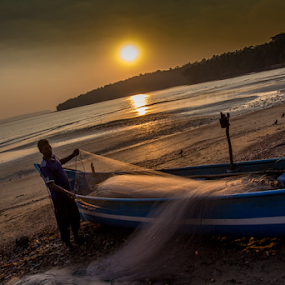 Fisherman - Goa by Debajit Bose - Landscapes Waterscapes ( nature, sunset, goa, fisherman ay work, fisherman )
