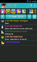Screenshot of Baby Care Log