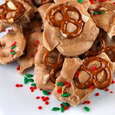 Fudgy Egg Nog Pretzel Bark