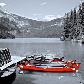 Red Ride by  J B  - Transportation Boats ( pwc, selective color, canoe, emerald lake, yoho national park, red canoe )