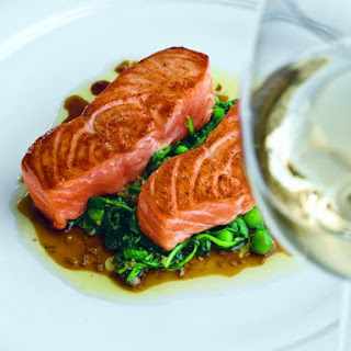 Seared Salmon with Sautéed Pea Shoots
